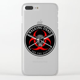 Biohazard Walking Dead  We Are The Saviors Ring Patch outlined Clear iPhone Case