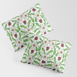 Ladybugs & Daisies - Cute Floral Bug Pattern with Ladybirds Pillow Sham
