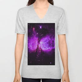 Space Galaxy : A star is born Purple Unisex V-Neck