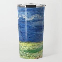 Wheatfield under thunderclouds by Vincent van Gogh Travel Mug