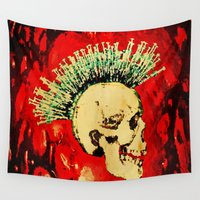 health Wall Tapestries featuring MENTAL HEALTH - 025 by Lazy Bones Studios