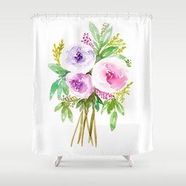 Watercolor Floral Bouquet  Shower Curtain