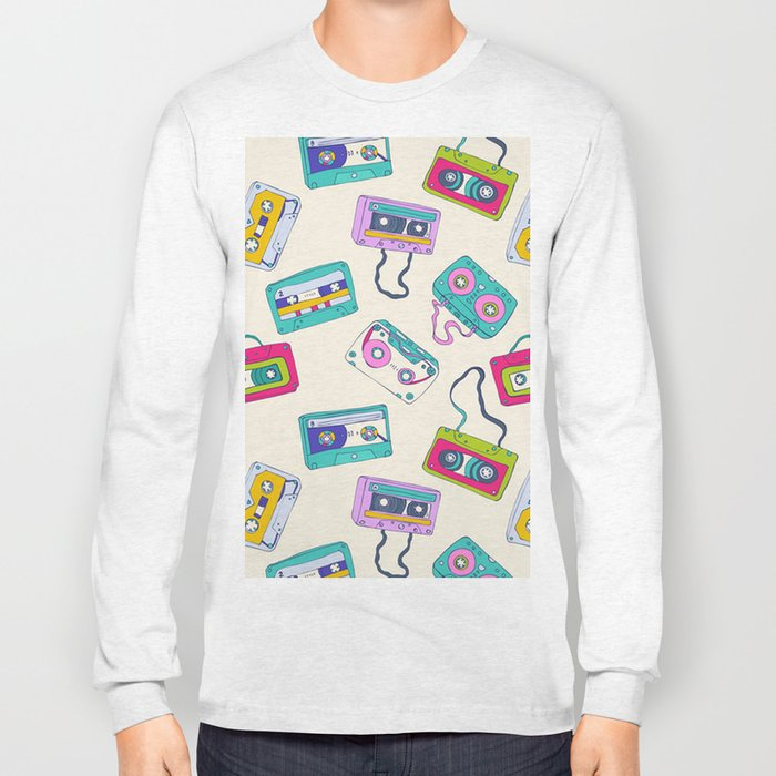 Vintage Cassette Tape Pattern Long Sleeve T-shirt