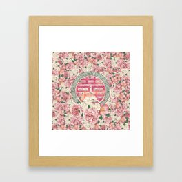 Double Happiness Symbol on  Peony pattern Framed Art Print