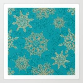 Winter Pattern (turquoise/golden) Art Print
