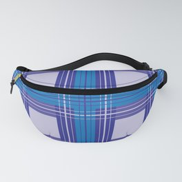 Blue Hues Squares and Stripes Pattern Fanny Pack