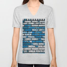 brick wall background in blue and white Unisex V-Neck