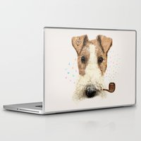 terrier Laptop & iPad Skins featuring fox terrier sailor by dogooder
