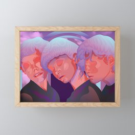 Reverie // Daydream: Three girls with closed eyes, purple, lila, pink color palette Framed Mini Art Print