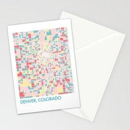Denver Colorado Colorful Mosaic Map Stationery Cards