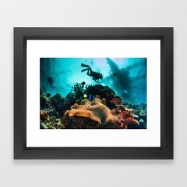 Colourful seascape with diver silhouette Framed Art Print