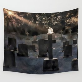 Gravestones and statue Wall Tapestry