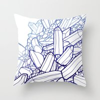 crystals Throw Pillows featuring Crystals by fossilized