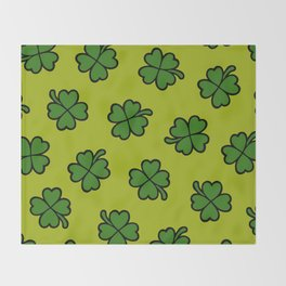 Lucky Four Leaf Clover Pattern Throw Blanket