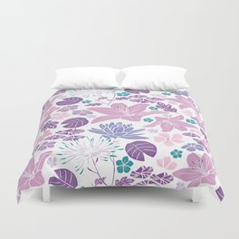 Purple and pink Japanese pond foral Duvet Cover