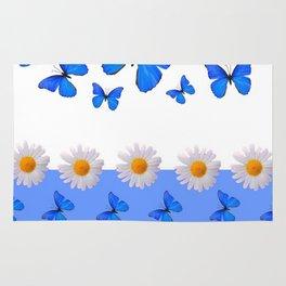 BABY BLUE MODERN ART BLUE BUTTERFLIES & WHITE DAISIES Rug