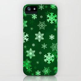 Dark Green Snowflakes iPhone Case