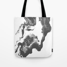 Somi - spilled ink black and white marble patterned painting watercolor abstract art Tote Bag