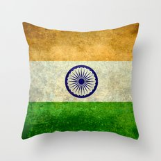Flag of India - Retro Style Vintage version Throw Pillow