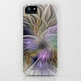Abstract Flower, Colorful Floral Fractal Art iPhone Case