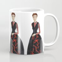 valentina Mugs featuring Fashion Illustration Valentina coral couture dress by Cinnamoncafexx