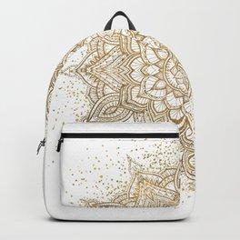 Stylish gold sparkling mandala and floral drawing Backpack