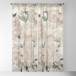 Peonies Pattern Sheer Curtain