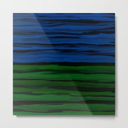 Emerald Green, Slate Blue, and Black Onyx Spilt Metal Print