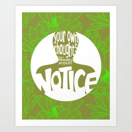 Notice – Lime (Lotus Pattern) Art Print