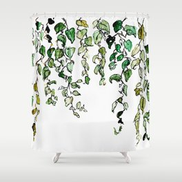 Hanging leaves - watercolor Shower Curtain
