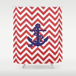 Blue Anchor on Red and White Chevron Pattern Shower Curtain