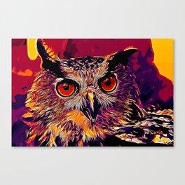 owl strix bird v2 vector art late sunset Canvas Print
