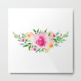 Bouquet OF flowers PINK WITH CYAN - PAINTED - watercolor Metal Print