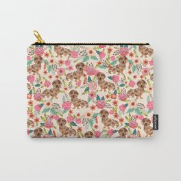 Dapple cream Dachshund doxie floral florals dog breed gifts for pupper must haves Carry-All Pouch