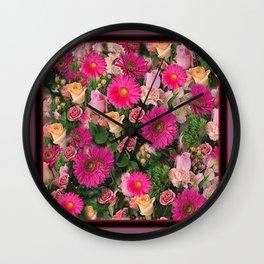 PINK FLOWERS GARDEN PUCE ART PATTERNS Wall Clock