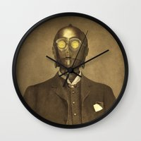 creepy Wall Clocks featuring Baron Von Three PO  by Terry Fan
