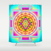 chakra Shower Curtains featuring Shri Chakra by Artisticcreationsusa