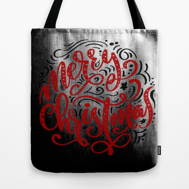 Merry Christmas Elegant Retro Typography Tote Purse by Artonwear (TBG9863182) photo