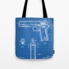Colt Pistol Patent - Browning 1911 Colt Art - Blueprint Tote Bag
