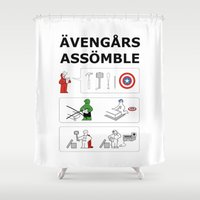 superheroes Shower Curtains featuring Superheroes Assembling - Colour by Byway
