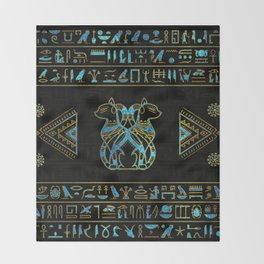 Egyptian Cats Gold and blue stained glass Throw Blanket
