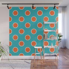 Geometric Orbital Candy Dot Circles - Citrus Orange & Peppermint Blue Wall Mural