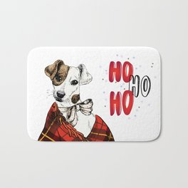 Hand Drawn Jack Russell Terrier Dog Portrait Snuggled in Plaid Blanket Bath Mat