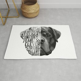 Rottweiler Quote Text Rug