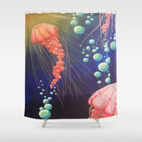 jelly fish Shower Curtains featuring Jelly Fish by Little Mama