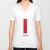 tetris V-neck T-shirts featuring Tetris by Eren Alkan