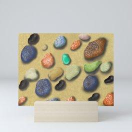 Pebbles beach Mini Art Print