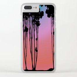 Forest Silhouette Sherbet Sunset by Seasons K Designs for Salty Raven Clear iPhone Case