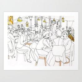 Book store cafe Art Print