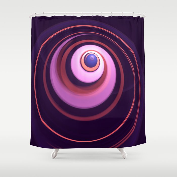 Radial Abstract In Pink Purple Blue And Orange Shower Curtain By Walstraasart